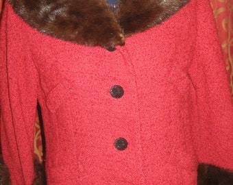 "1950's, 36"" bust, red boucle wool jacket"