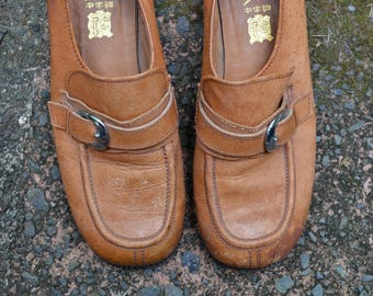 90's leather loafers shoes size 40 or 9-10 Dunlop