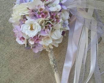 Lilac Ivory Blush Custom Order Pom Wand
