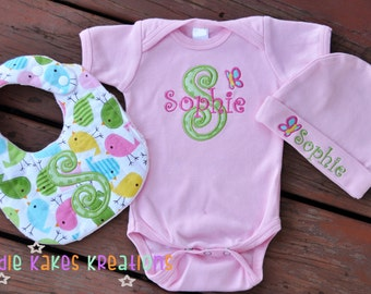 Bird Baby Girl Outfit - Baby Shower Gift - Personalized - Bodysuit - Bib - Hat - Birds - Birdie - Butterfly - Coming Home Outfit - Take Home