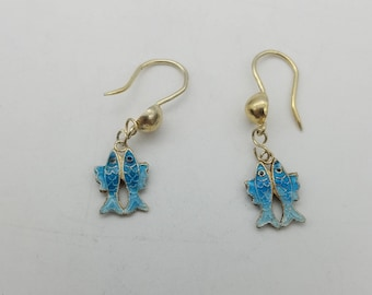 Vintage Sterling Silver & Blue Enamel Dangling Fish Earrings