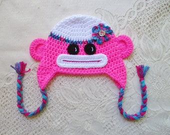 READY TO SHIP - 1 to 3 Year Size - Neon Pink Sock Monkey Crochet - Winter Hat or Photo Prop