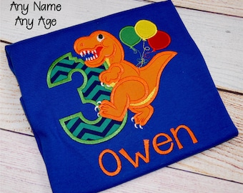 Dinosaur Birthday Party Shirt, Boys Dino Birthday Shirt, Boys 2nd Birthday Shirt, Kids Third Birthday Personalized Shirt, Dinosaur Shirt