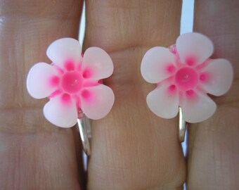 """Play Earring - Clip or Pierced - Hibiscus - Two Tone Flower - Tropical Flower - White/Bright Pink - 1/2"""""""
