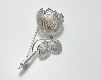 Signed 1960's Vintage Sterling Silver Detailed Cannetille Tulip Tree Flower Filigree Brooch Pin Fine Jewelry Gift For Her on Etsy