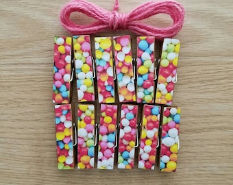 Confetti Gumball Sprinkles Chunky Little Clothespin Clips w Twine for Display -  Set of 12 - Girl Birthday Celebration - Ready to Ship