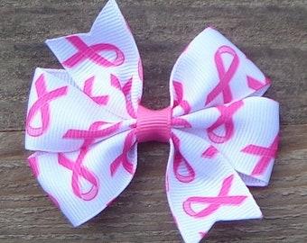 Breast Cancer Hair Bow~Awareness Hair Bow~Small Pinwheel Bow~Small Boutique Bow~Small Hair Bow~Breast Cancer Awareness Bow~Hair Bow~Bows~