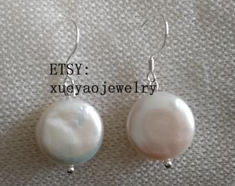 pearl earrings, white coin pearl,12-13 mm white pearl dangle earrings