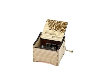 Here Comes The Sun - Personalised / Engraved Hand Crank Wooden Music box