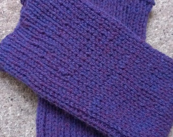 Hand knitted leg warmers in purple (blue/red)