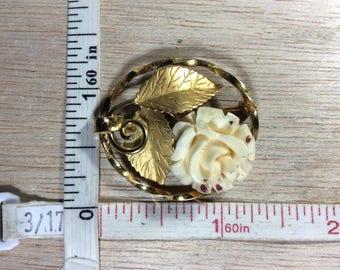 Vintage Gold Filled 5.4g Carved Rose Pin Brooch Signed KL Used