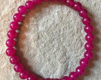 Rose pink jade 6mm semi precious gemstone bracelet