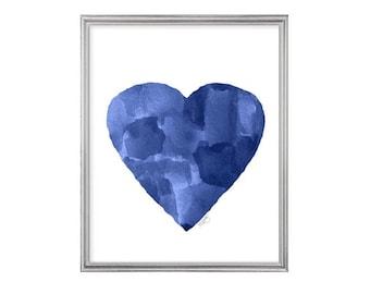 Indigo Art Print, Nautical Decor, Navy Blue Art, Navy Blue Decor, Nautical Nursery Art, 8x10 Watercolor Print, Indigo Heart Print, Midnight
