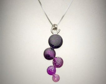 Sterling Purple Resin Cluster Necklace