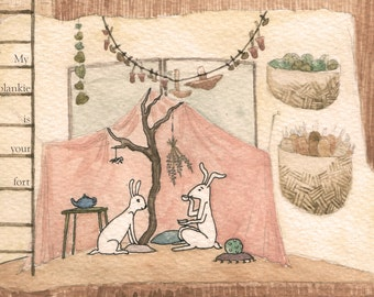 Blankie fort bunny easter mother's day print gouache illustration lavender pink vanilla cream children nursery