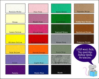 100% Wool Felt Pure - Sheet felt for sewing craft - 20cm x 30cm (7 1/8'' x 11 3/4'')