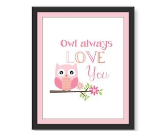 Owl Always Love You Print Owl Print Nursery Print Kids Print Printable Art