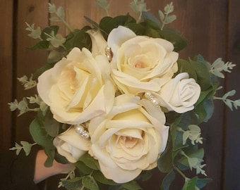 Fabulous Bridal Wedding Bouquet silk flowers with ivory silk roses, eucalyptus, and studded with ivory pearls and diamante rodelles