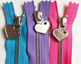 Metal Teeth 7 Inch Zippers with Special Heart Pull - YKK- 3 Pieces-  3 color sampler pack- pink, lavender, and blue