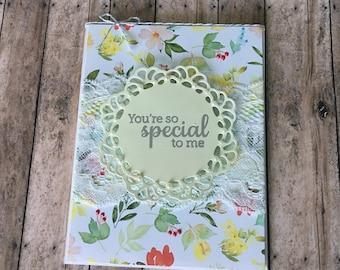 Floral Birthday Card, Happy Birthday Card, Colorful Flower Birthday Card, Flower Card, Floral and Lace