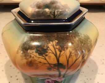 Signed Hand Painted Nippon Covered Jar