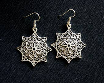 Boho Earrings, Mandala Earrings, Ethnic Earrings, Tribal Earrings, 925 Sterling Silver Plated Earrings, Kuchi Earrings, Filigree Earrings