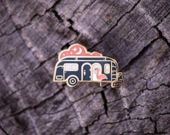 Camper Travel Trailer - Outdoor Series - Brass Enamel Lapel Pin - Airstream Camping National Parks