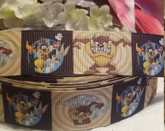 3 yards,  loony toons design 1' grosgrain ribbon.
