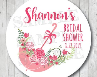 Personalized Bridal Shower Stickers, Wedding Shower Labels, Bridal Shower Tags, Umbrella of Flowers Tags
