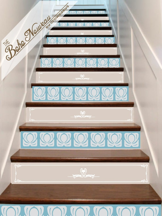 Items Similar To Vinyl Stair Riser Decals   Art Nouveau   Wall Border Decor    Riser Stickers Custom Cut   Arts U0026 Craft Decor Roycroft Paris France On  Etsy