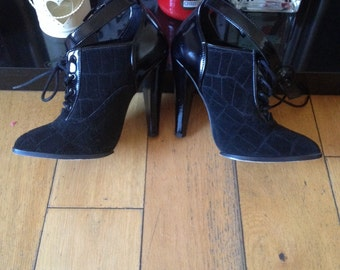 Vintage Dominatrix Shoes, Fetish, Suede and Patent Leather Heels, High Heels, Ankle Strap Shoes