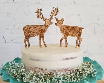 Deer Couple Wedding Cake topper, Animals Wedding Cake Topper, Wood Custom Cake Topper, Rustic Wooden Cake Topper