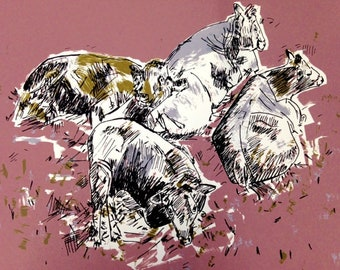 In the Cow Shed, Original Hand Pulled Screen-print, Cows, Made in Yorkshire, Original Art