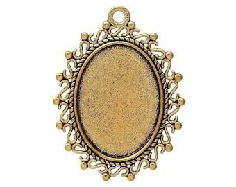 Pendant cabochon 18 x 25 cm, antique gold color backing.