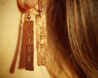 PISS OFF Recycled Copper Earrings