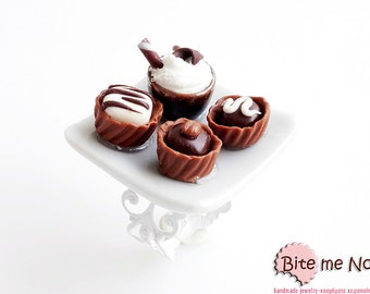 Food Jewelry Chocolate Truffles and Mochaccino Ring, Food Jewelry, Coffee Ring, Mini Truffles, Mini Food, Kawaii Jewelry