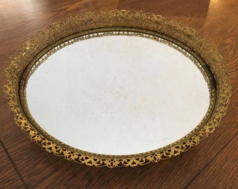 Vintage Gold Tone Tray - Gold Tone Filigree Dresser Tray - Ornate Vanity Mirror