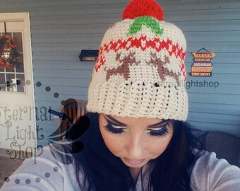 ANY COLORS Reindeer Fair Isle Crochet Beanie One Size Teen/Adult