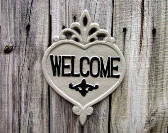 Welcome Plaque, Painted, Cast Iron, Gray, Black, Welcome Sign, Door Welcome Sign, Ornate Welcome Plaque, Indoor, Outdoor, Welcome