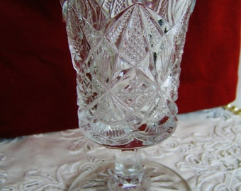Antique EAPG WATER GOBLET Vintage 1890-1910 Early American Pattern Glass Collectible Glass Gift Bridal