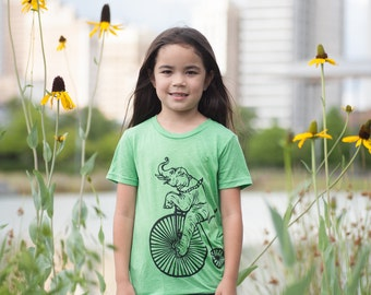 Elephant And Bicycle On Green Tri Blend Youth T Shirt Small Medium Large