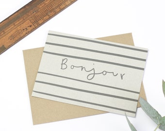 Bonjour Notecard Set - set of 8 notecards and kraft envelopes