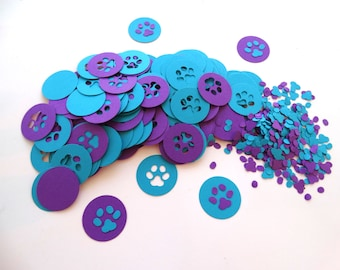 Paw Print Confetti, dog confetti, kids party, paw patrol party, birthday party decor, blues clues party, word confetti, pet party