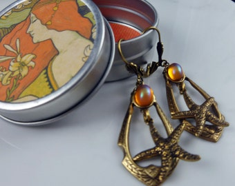Handmade Antique Gold Brass Starfish Earrings with Free Gift Tin and Free U.S. Shipping