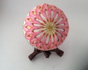 """Japanese Temari Ball - Yaezakura (Cherry Blossom), Design (3 9/16"""")"""