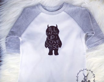 Ill Eat You Up I Love You So Onesie, Where The Wild Things Are, Monster, Baby Gift, Baby Shower, Baby Girl, Baby Boy, Infant Clothing