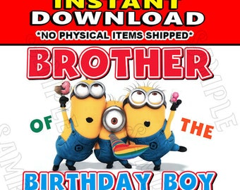 Instant Digital Iron On JPG File Download - Disney Minions Stuart Kevin and Bob Brother of the Birthday Boy design for DIY T-Shirt