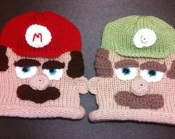 Newborn Baby to Adult Size Super Mario Brothers Hat knit Mario Luigi beanie crochet