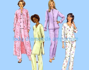 Butterick  B4406 Womens Jacket Duster Robe Top Tunic Pants Pajamas size 4 6 8 10 12 14 bust 29-36 Very Easy Sewing Pattern 4406 Uncut FF
