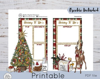 Holiday To Do's- Personal size SMC/Mini HP. Printable planner Holiday To Do's organization pages.Glitter glam Christmas tree Santa cookies